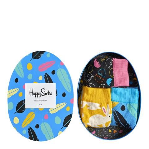 Happy Socks Blue/Multi 3 Pack Easter Gift Box