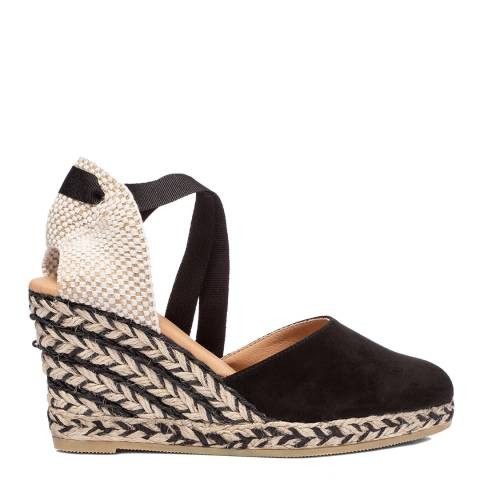 Oliver Sweeney Black Canyalles Suede Closed Toe High Wedge Sandals