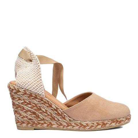 Oliver Sweeney Beige Canyalles Suede Closed Toe High Wedge Sandals