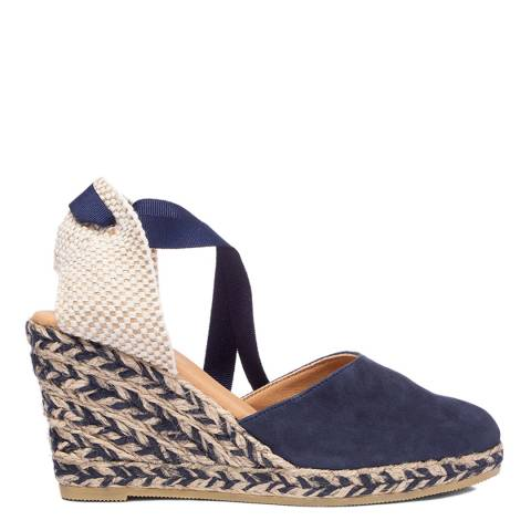 Oliver Sweeney Navy Canyalles Suede Closed Toe High Wedge Sandals