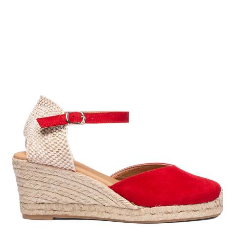 Oliver Sweeney Red Sitges Suede Closed Toe Wedge Sandals