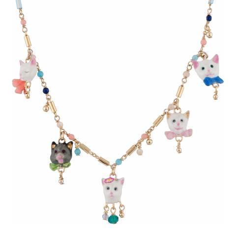 Les Néréides Gold Multi Little Cats Charm Necklace