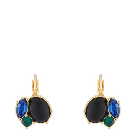 Les Néréides Gold Black Precious Fantasy Hook Clasp Earrings