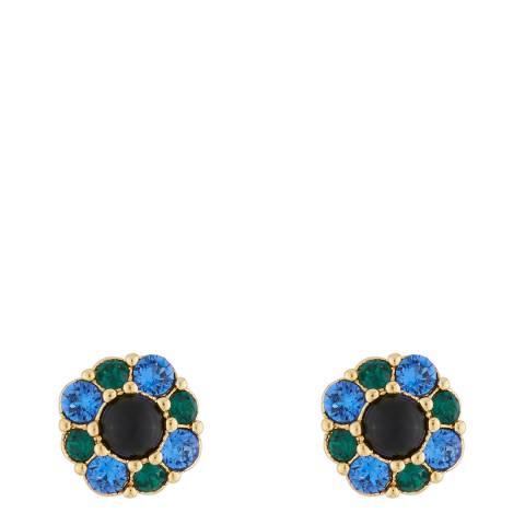 Les Néréides Gold Black Precious Fantasy Stud Earrings