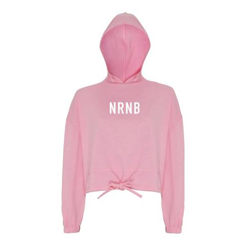 NRNB Women's Pink Cropped Oversize Hoodie