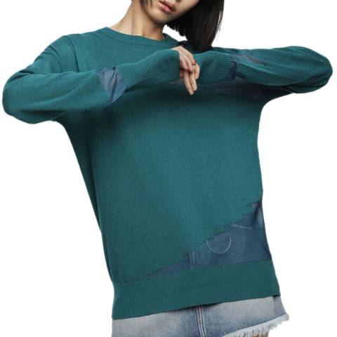 Diesel Green M-Escape Tricot Detailed Jumper