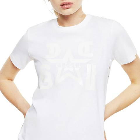 Diesel White Graphic T-Sily Cotton T-shirt