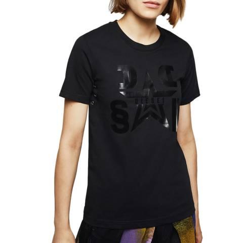 Diesel Black Graphic T-Sily Cotton T-shirt