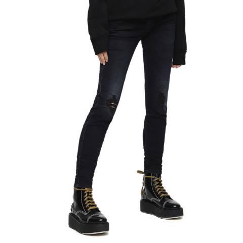 Diesel Black Gracey Slim Fit Distressed Stretch Jeans