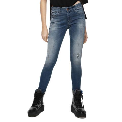 Diesel Blue Slandy Super Slim-Skinny Distressed Jeans