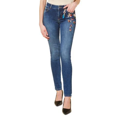 Twinset Blue Embellished Skinny Stretch Jeans