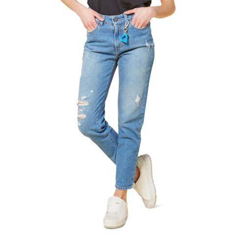 Twinset Blue Distressed Mom Cotton Jeans