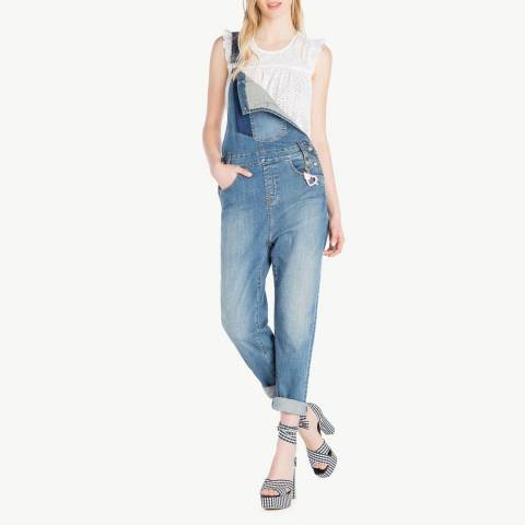 Twinset Blue Denim Cotton Stretch Dungarees