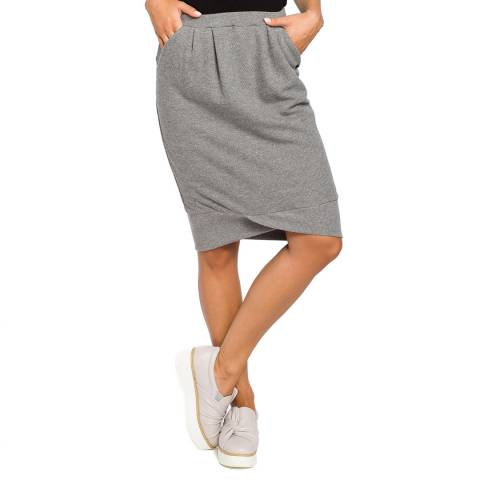 Bewear Grey Knit Skirt With Pockets