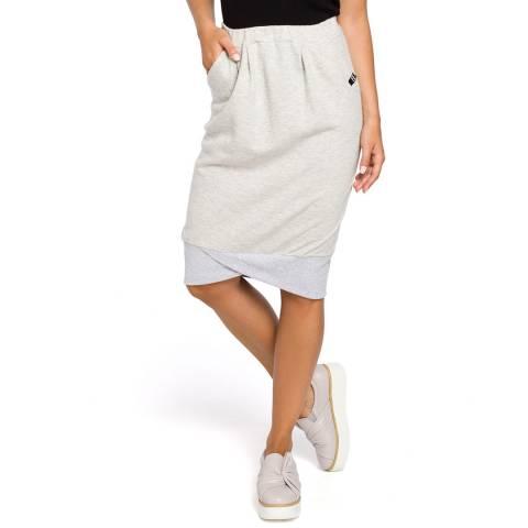 Bewear Light Grey Knit Skirt With Pockets