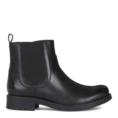 Geox Black Leather Chelsea Style Ankle Boots