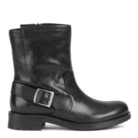Geox Black Snake Effect Rawelle Ankle Boots