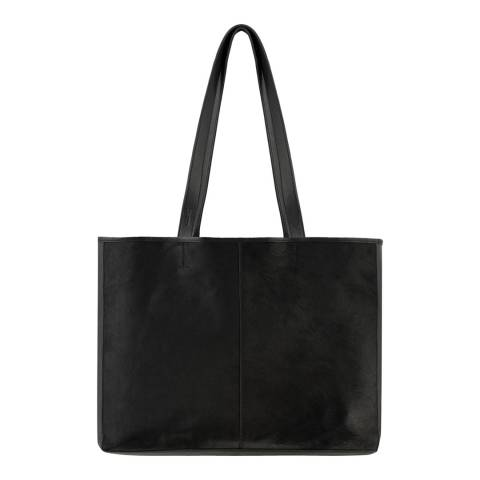 Brix and Bailey Black Two-Tone Vertical Leather Tote Bag