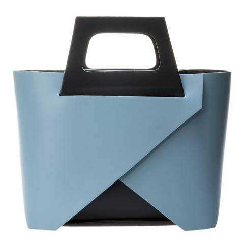Markese Pale Blue Leather Top Handle Bag