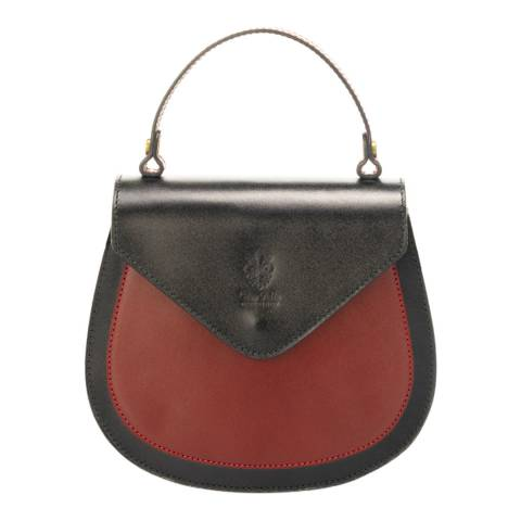 Massimo Castelli Black/Red Leather Top Handle Bag