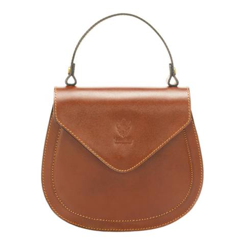 Massimo Castelli Brown Leather Top Handle Bag