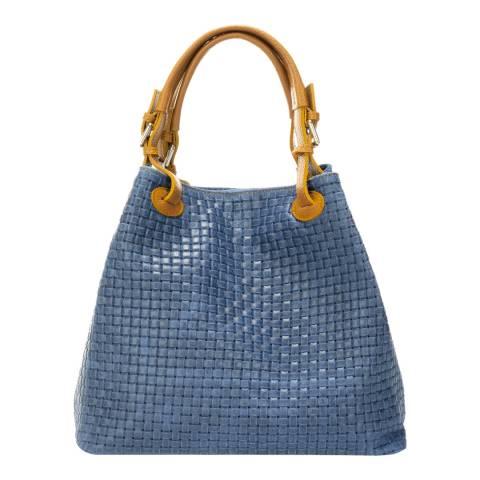 Massimo Castelli Mid Blue Leather Shoulder Bag