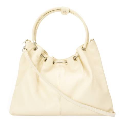 Massimo Castelli Beige Leather Top Handle Bag