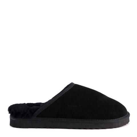 Aus Wooli Black Manly Slippers