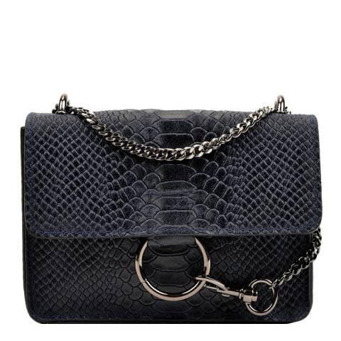 Carla Ferreri Navy Leather Shoulder/Crossbody Bag