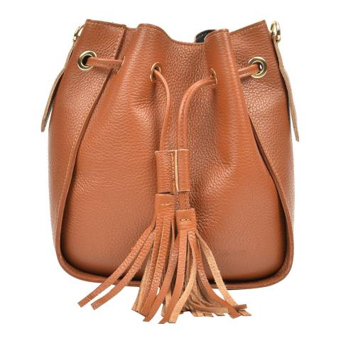 Carla Ferreri Cognac Leather Crossbody Bag