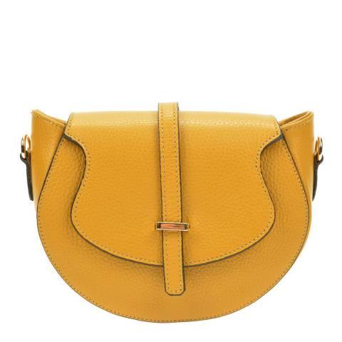 Roberta M Yellow Leather Crossbody Bag