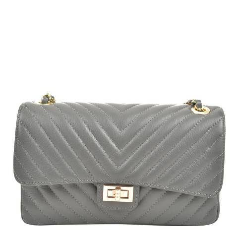 Renata Corsi Grey Leather Shoulder/Crossbody Bag