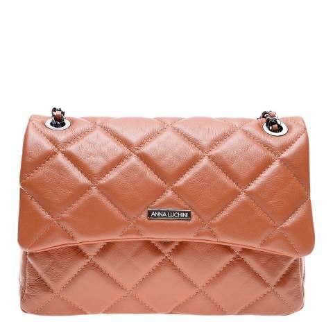 Anna Luchini Cognac Leather Shoulder/Crossbody Bag