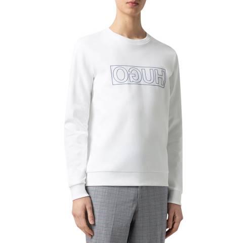 HUGO White Dicago Cotton Sweatshirt