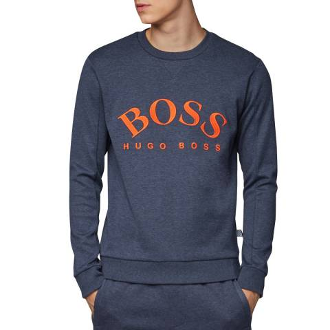 BOSS Navy/Orange Salbo Logo Sweatshirt
