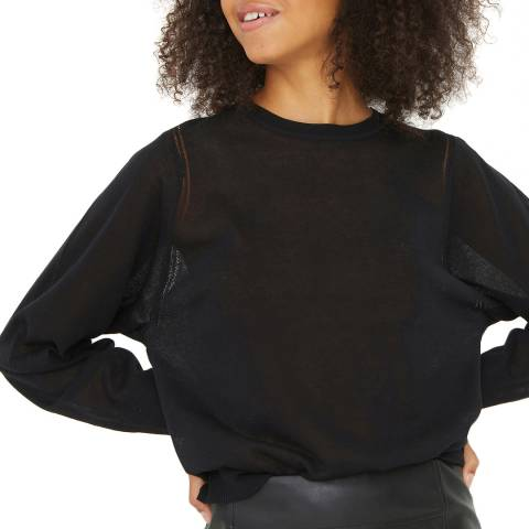 Oliver Bonas Black Contact Ladder Stitch Jumper
