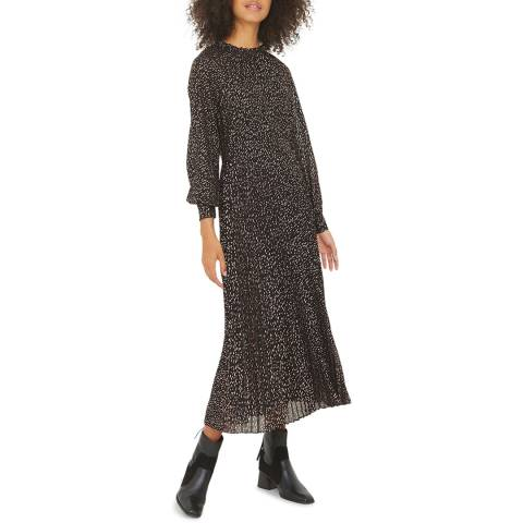 Oliver Bonas Black Rose Foil Pleated Dress