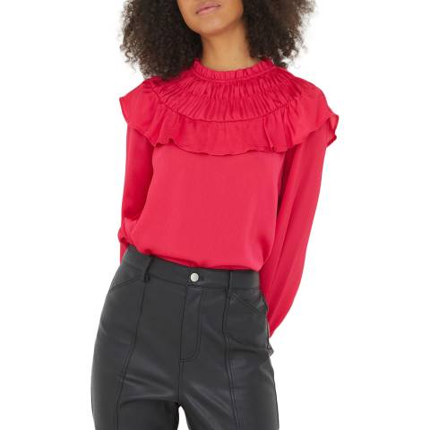 Oliver Bonas Deep Pink Rouch Blouse