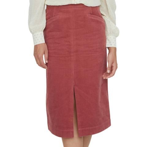 Oliver Bonas Pink Cord Pencil Skirt