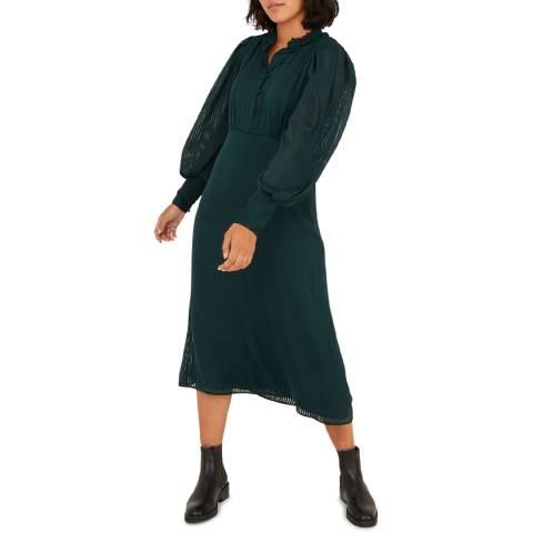 Oliver Bonas Green Jacquard Sheer Striped Midi Dress