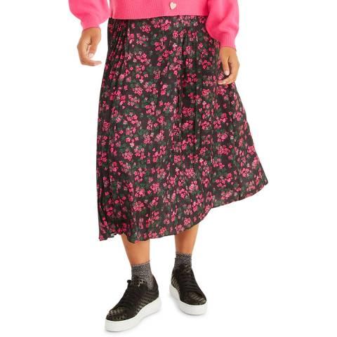 Oliver Bonas Pink Ditsy Pleated Midi Skirt