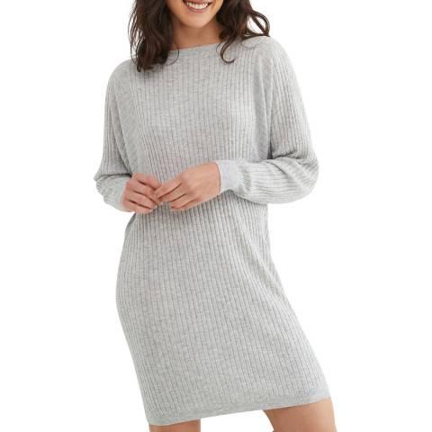 Oliver Bonas Grey Flat Rib Knitted Dress