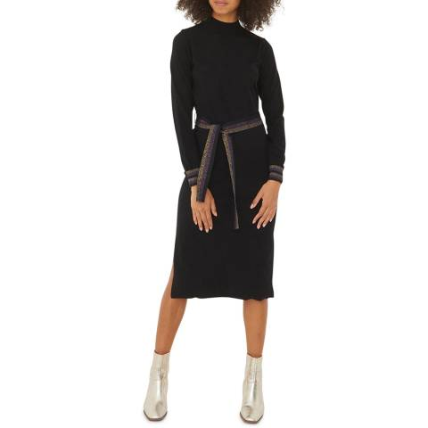 Oliver Bonas Black Sparkle Stripe Belted Knitted Dress