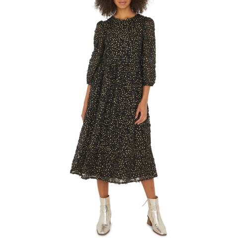 Oliver Bonas Black Flower Texture Dress