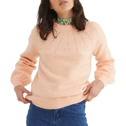 Oliver Bonas Pink Stitch Neck Detail Jumper