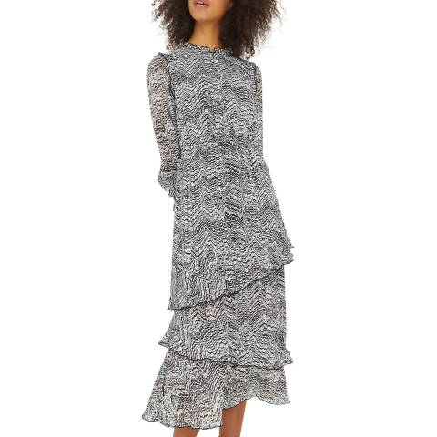 Oliver Bonas Black Texture Print Midi Dress