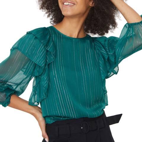 Oliver Bonas Green Frill Sleeve Interest Blouse