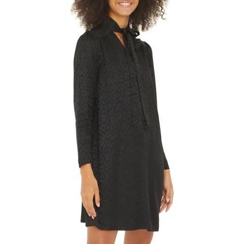 Oliver Bonas Black Tie Neck Leopard Jacquard Dress