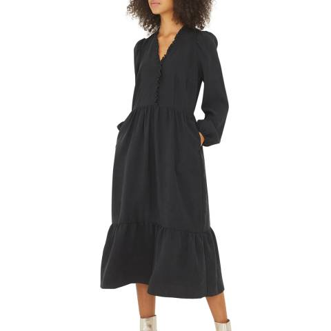 Oliver Bonas Black Frill Midi Dress