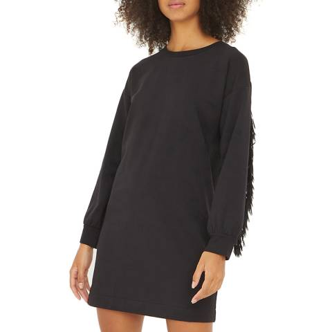 Oliver Bonas Black Fringe Trim Sweater Dress